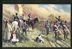 Künstler-AK Die Völkerschlacht 1813, General Bülow bei Dennewitz