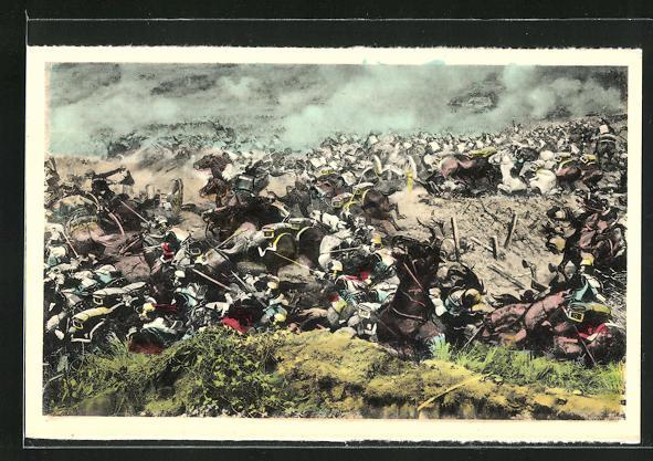 AK Waterloo 1815, Die Schlacht am Hohlweg von Ohain