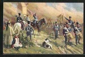 Künstler-AK Völkerschlacht 1813, General Bülow bei Dennewitz