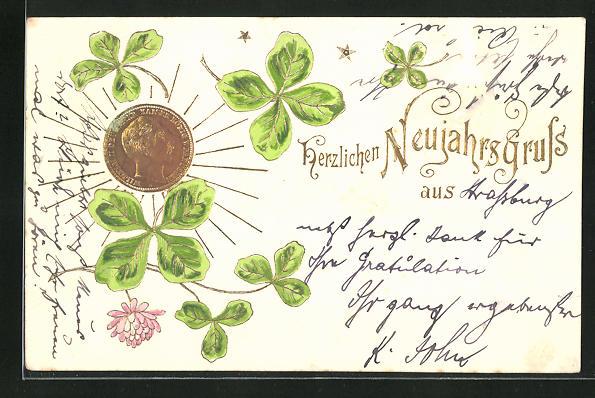 Präge-AK Geldmünze mit Kleeblättern, Neujahrsgruss