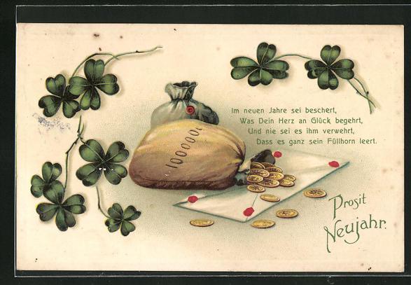 Präge-AK Geldsack mit Münzen u. Kleeblätter mit einem Kuvert, Neujahrsgruss
