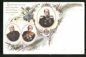 Lithographie Portrait Kaiser Wilhelm I. in Uniform mit Orden zur Erinnerung an die 100 jähr. Wiederkehr des Geburtstages