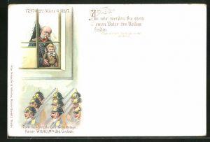 Lithographie Portrait Kaiser Wilhelm I. in Uniform am Fenster, Zum hunderjährigen Geburtstage, Soldaten in Uniformen