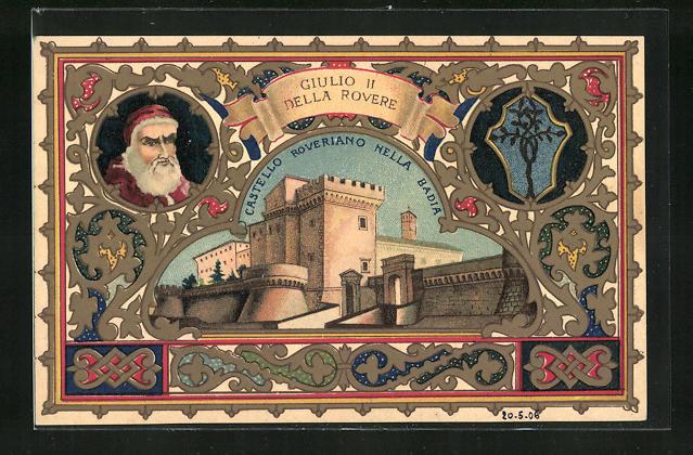 Lithographie IX. Centenario della Badia greca di Grottaferra, Castello Roveriano nella Badia, Giulio II della Rovere
