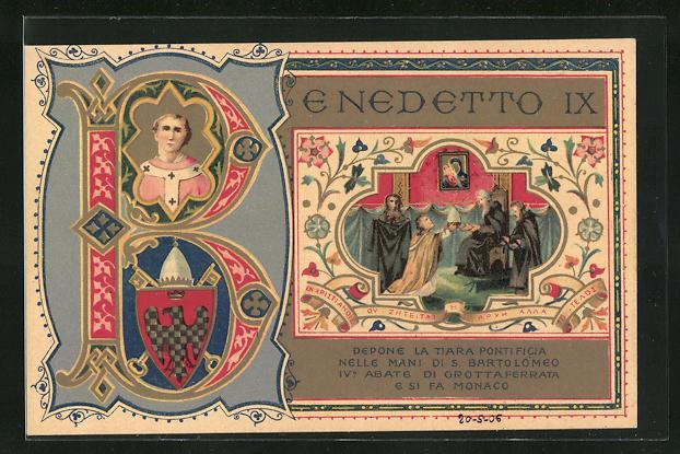 Lithographie IX. Centenario della Badia greca di Grottaferra, Benedetto IX, Papst