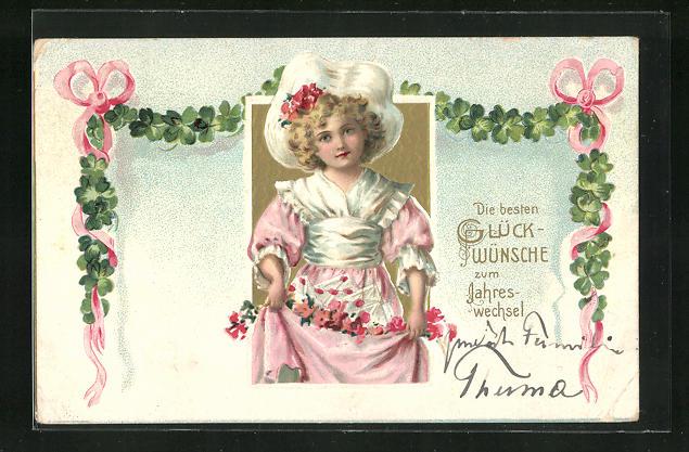 Präge-Lithographie Glückwünsche zum Jahreswechsel, Mädchen mit Blumen 0