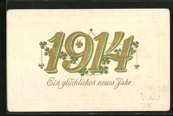 AK Ein glückliches neues Jahr, Jahreszahl 1914