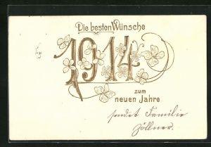 AK Die besten Wünsche zum neuen Jahre, Jahreszahl 1914 und Klee