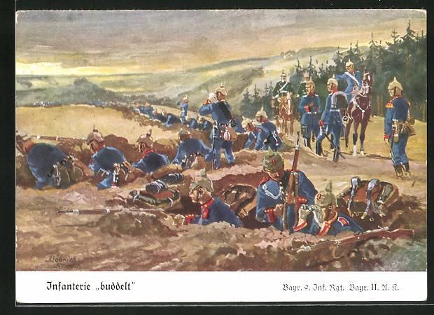 Künstler-AK Döbrich-Steglitz: Infanterie buddelt, Bayr. 9. Inf. Rgt.