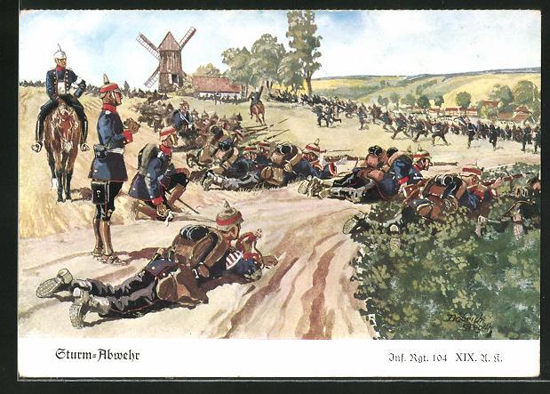 Künstler-AK Döbrich-Steglitz: Sturm-Abwehr, Inf. Rgt. 104