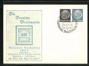 AK Berlin, Nationale Ausstellung 1937 Die Deutsche Briefmarke, Ganzsache 1+4 Pfg.