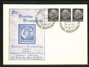 AK Berlin, Nationale Ausstellung 1937 Die Deutsche Briefmarke, Ganzsache 1+1+1 Pfg.