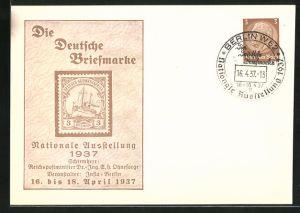 AK Berlin, Nationale Ausstellung 1937 Die Deutsche Briefmarke, Ganzsache 3 Pfg.