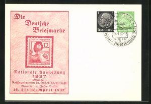 AK Berlin, Nationale Ausstellung 1937 Die Deutsche Briefmarke, Ganzsache 1+5 Pfg.