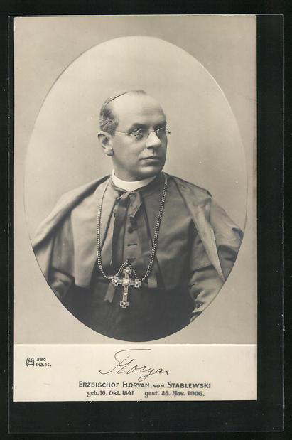 AK Porträt Erzbischof Floryan von Stablewski mit Brille