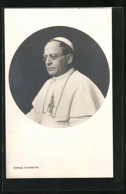 AK Papst Pius XI. im weissen Ornat