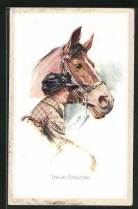 Künstler-AK Court Barber: Treue Freunde, Junge Frau mit ihrem Pferd