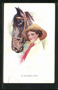 Künstler-AK Court Barber: In Summer Days, Lady with Horse