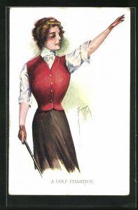 Künstler-AK Court Barber: A Golf Champion, Junge Frau beim Golfspiel