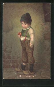 Künstler-AK Hermann Kaulbach: Ruppsack, Knabe mit Mütze hält einen roten Apfel in der Hand