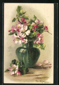 Künstler-AK Catharina Klein: Rosafarbener Blumenstrauss in grüner Vase