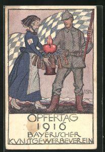 Künstler-AK Richard Klein: Opfertag 1916, Bayerischer Kunstgewerbeverein, Schwester des Roten Kreuzes hilft dt. Soldaten