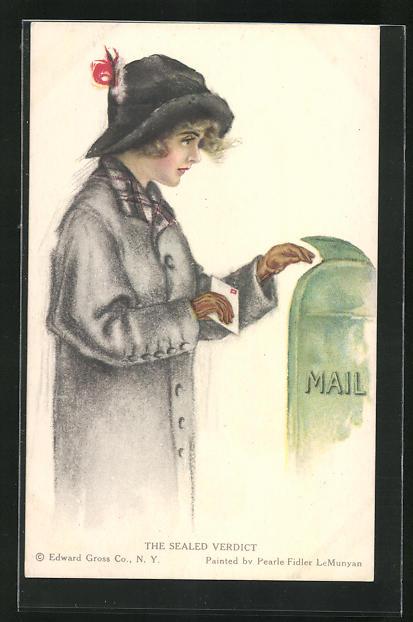 Künstler-AK Pearle Fidler LeMunyan: The Sealed Verdict, Frau wirft einen Brief in den Postkasten