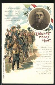 AK Burenkrieg, Jubelnde Soldaten, Bildnis des Präsidenten Krüger