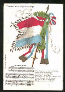 AK Burenkrieg, Flagge mit Eichenkranz, Das Freiheitslied der Buren