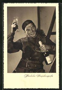 AK Schornsteinfeger auf der Leiter geniesst ein Glas Sekt, Neujahrsgruss