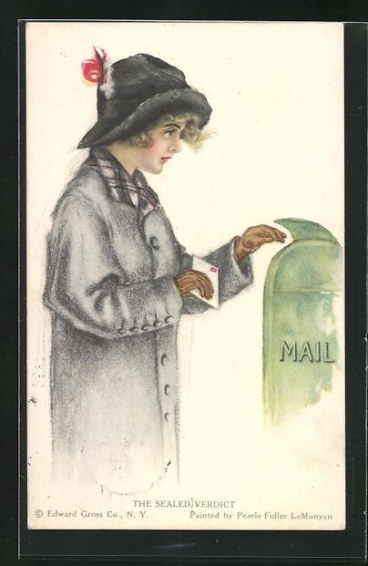 Künstler-AK Pearle Fidler LeMunyan: Junge Frau bringt einen Brief zum Postkasten