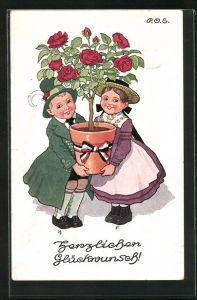 Künstler-AK P. O. Engelhard (P.O.E.): Junges paar trägt einen grossen Topf mit Rosenstrauch