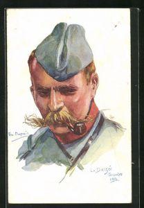 Künstler-AK Em. Dupuis: La Bassee Dezember 1914, Soldat mit Pfeife