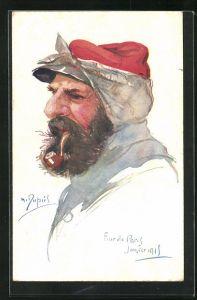 Künstler-AK Em. Dupuis: Four de Paris, Janvier 1915, Französischer Soldat eine Pfeife rauchend