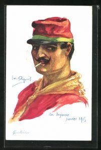 Künstler-AK Em. Dupuis: Garibaldien, Argonne Janvier 1915, Soldat beim rauchen einer Zigarette