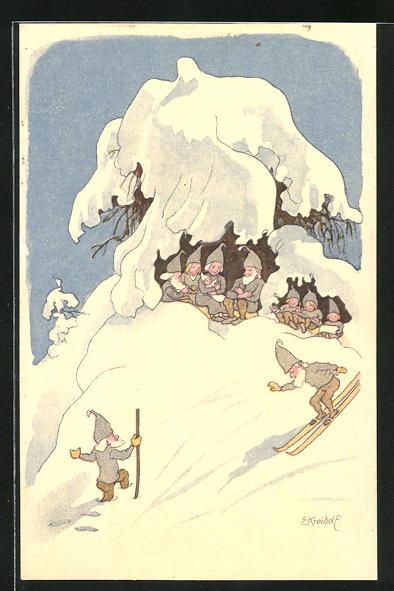 Künstler-AK Ernst Kreidolf: Zwerge im Schnee unter einem Baum sitzend und beim Skifahren