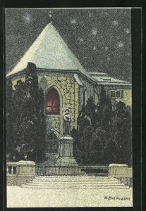 Künstler-AK sign. Emil Bollmann: Zürich, Wasserkirche mit Zwinglidenkmal