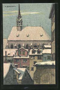 Künstler-AK sign. Emil Bollmann: Zürich, Blick von Geburtshaus Gottfr. Keller`s auf den Prediger
