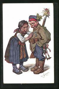 Künstler-AK Emil Beithan: Bayerische Trachten, kleiner Soldat und Mädel