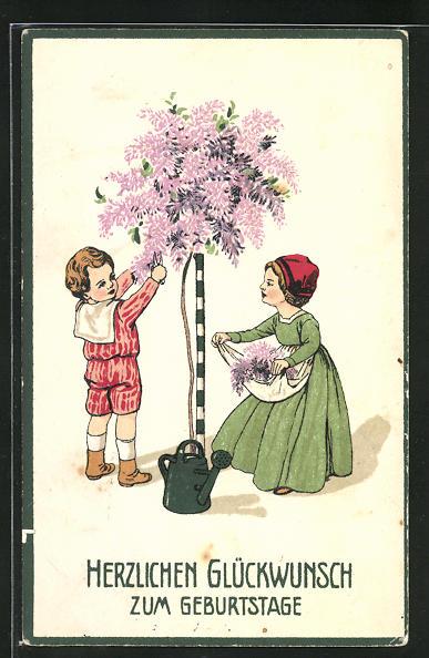 Präge-AK Glückwunsch zum Geburtstage, kleine Gärtner