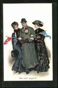 Künstler-AK Clarence F. Underwood: Wer wird siegen? Kavalier mit zwei Damen