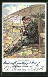 Künstler-AK Clarence F. Underwood: Love on wings, Paar in Flugzeug