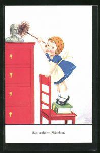 Künstler-AK John Wills: Ein sauberes Mädchen, Putzfrau