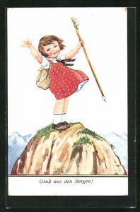 Künstler-AK John Wills: Gruss aus den Bergen!, kleine Bergsteigerin