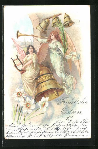 Glitzer-Lithographie Fröhliche Ostern, Osterengel mit Glocken 0