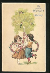 Präge-Lithographie Wünsche zum Geburtstage, Kinder tanzen mit Blumengirlande