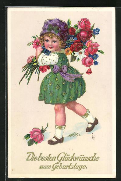 AK Glückwünche zum Geburtstage, Mädchen mit Blumen