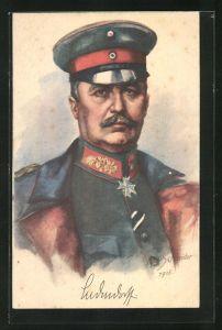 Künstler-AK Rud. Schneider: Ludendorff, Portrait in Uniform mit Pour le Mérite
