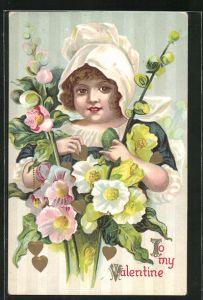 Präge-AK To my Valentine, Valentinstag, Maid mit Blumen