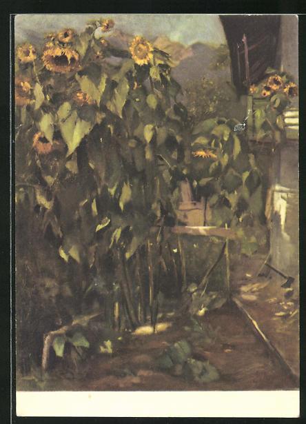 Künstler-AK Ernst Kreidolf: Sonnenblumen, Motiv in Garten